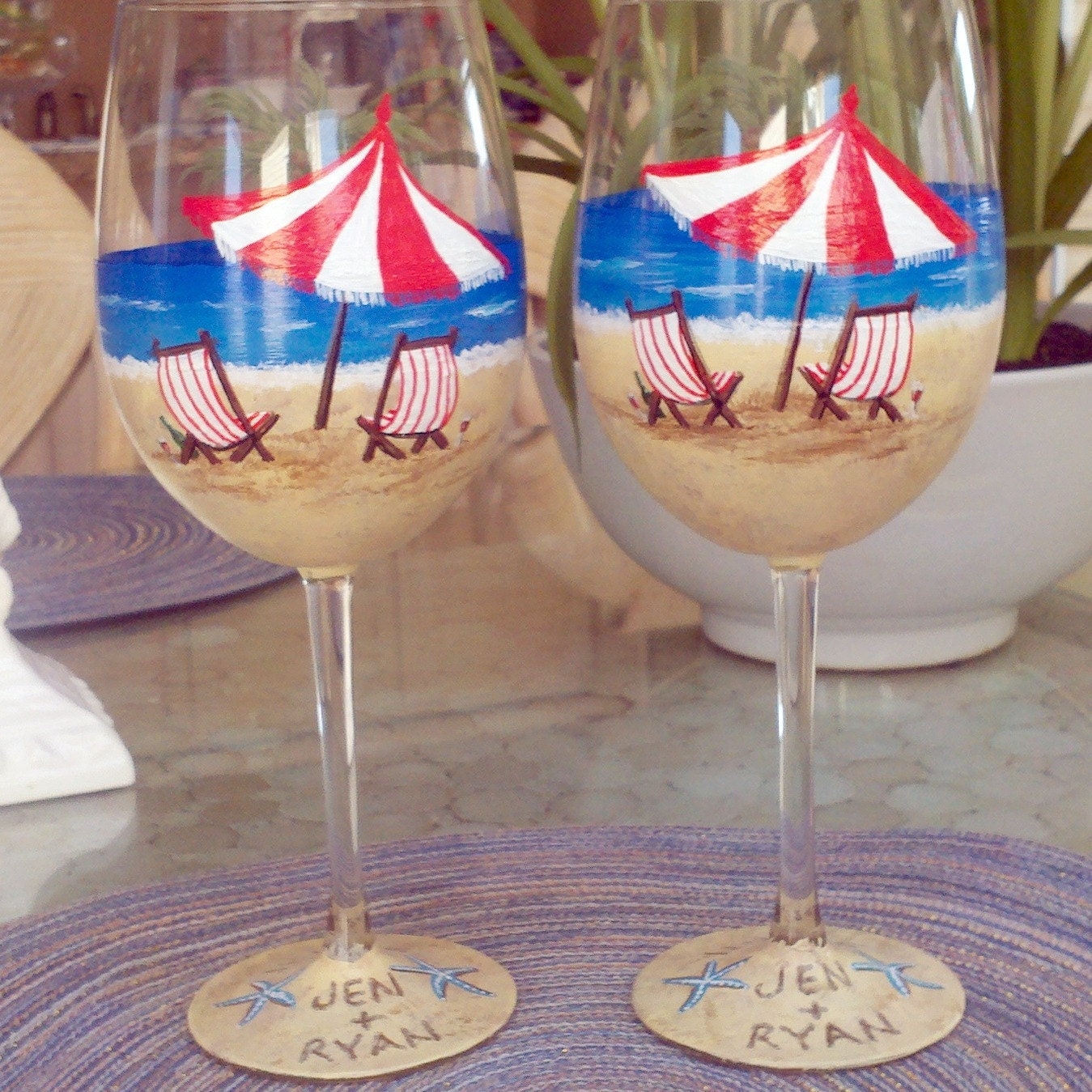 Beach scene hand painted wine glasses by GlassesbyJoAnne on Etsy