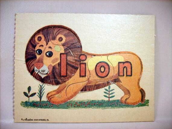 Vintage Children's Spelling Puzzle / Lion / 1960s