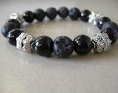 Men's fancy lava bead bracelet