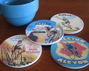 Bicycle Coasters-Vintage French Cycling Team-Gifts for cyclists, bicycle gift, bike decor