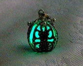 Pandora's Tear - Mysterious Glow in the Dark Caged Pendant - Antiqued Silver