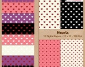 Digital Scrapbook Paper Pack - HEARTS - Instant Download