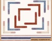 Digital Scrapbooking Pack - BASEBALL - Borders and Photo Corners - Scrapbook Clip Art - Instant Download