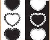Digital Scrapbooking Frames and Embellishments - BLACK and WHITE LACE - Frames & Doilies - Scrapbook Clip Art - Instant Download