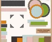 Digital Scrapbook Kit - CLOTH TEXTURE - Digital Paper, Labels, Borders and Photo Corners - Instant Download