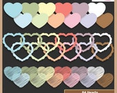 Digital Scrapbooking Frame Pack - HEART SHAPED FRAMES - Pastel -  Scrapbook Clip Art - Instant Download