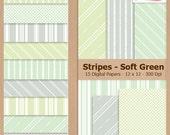 Digital Scrapbook Paper Pack - STRIPES - SOFT GREEN - Pastel - Instant Download