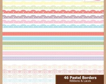 Pastel Digital Scrapbooking Border Pack - RIBBONS and LACE - Scrapbook Clip Art - Instant Download