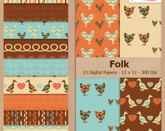Digital Scrapbook Paper Pack - VINTAGE FOLK - Instant Download