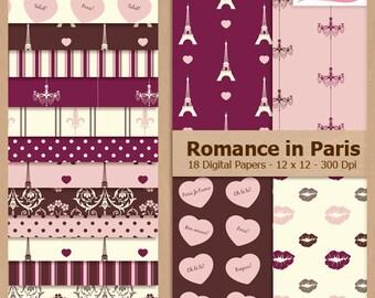 Digital Scrapbook Paper Pack - PARIS - Instant Download