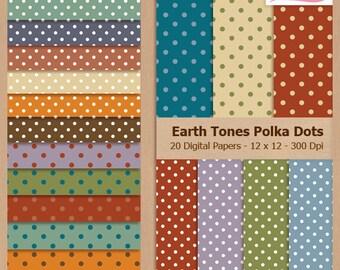Digital Scrapbook Paper Pack - POLKA DOTS - Earth Tones - Instant Download