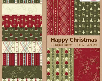HAPPY CHRISTMAS - Digital Scrapbooking Paper Pack - Personal and Small Business Use