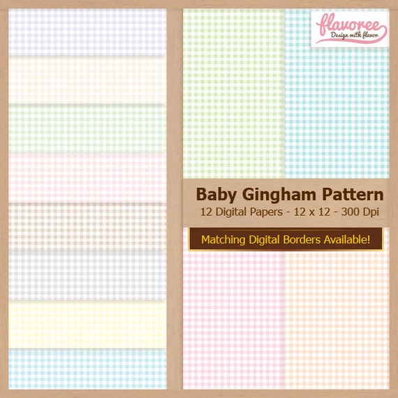 Digital Scrapbook Paper Pack - BABY GINGHAM PATTERN - Instant Download