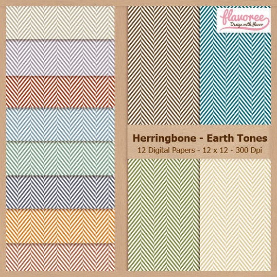 Digital Scrapbook Paper Pack - HERRINGBONE EARTH TONES - Instant Download