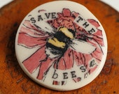 Save the Bees Badge Pink flower