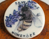Save the Bees Badge Lavender flower