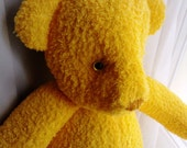 Handmade and dyed little sunshine yellow teddy bear - personalize option