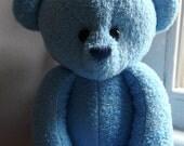 Handmade OOAK baby blue navy eyed teddy bear. Made to Order
