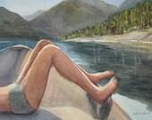 Boat Toes Original Watercolor Painting Mountain Lake Vacation