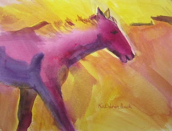 Original art watercolor painting abstract horse mare purple yellow matted