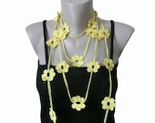 Lemon Yellow, Crochet Necklace, Crochet Flower  Lariat Scarf Necklace Bracelet, Strand necklace, Eco friendly,  Woman
