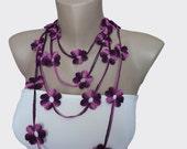 Purple Multicolor Crochet Necklace, Crochet Flower Lariat Scarf Necklace,  Strand necklace, Eco friendly, Bracelet,  Woman