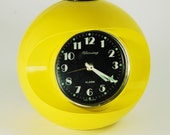West German Alarm Clock Rare Mod Blessing Yellow  - Free Shipping