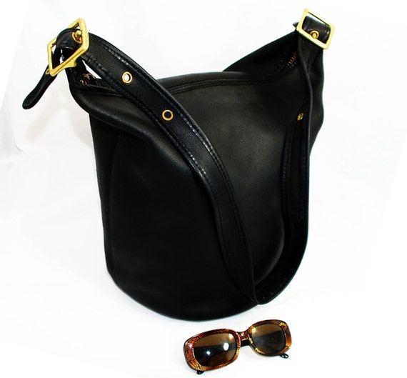 Vintage 80s Coach 9085 Black Leather BIG XL Duffle Bucket Shoulder Bag Free Ship