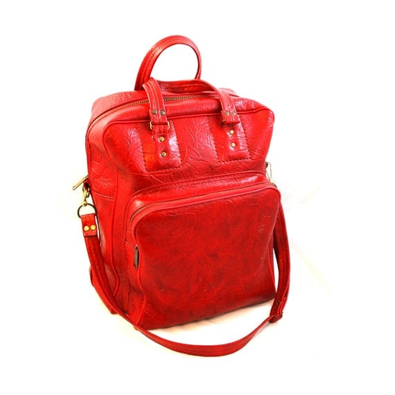 70s Red Carry-on Bag  - Free US Shipping
