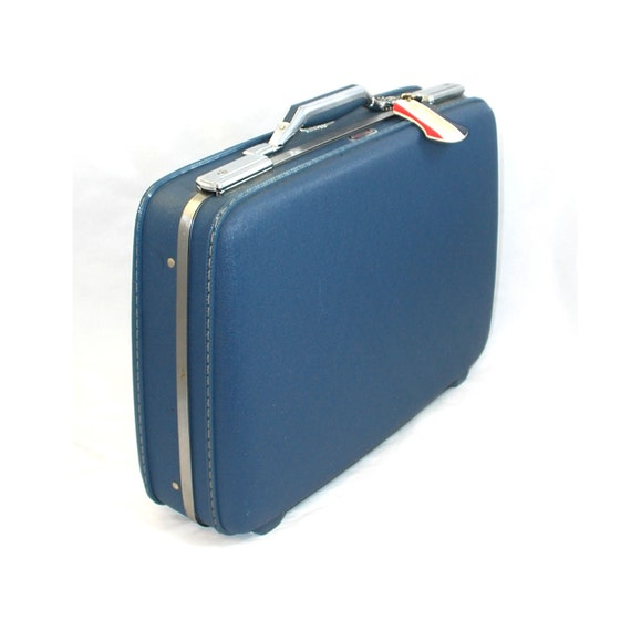 60s Blue Smal Slim Briefcase Suitcase - Key & ID Tag - American Tourister