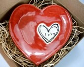 wedding ring dish, engagement ring holder, jewelry dish, Red Heart,  Stamped LOVE, Gift Boxed, Ready to Ship