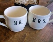 MR and MRS mug set, coffee cups, tea hot chocolate cups, White and Black, Gift Boxed, In Stock