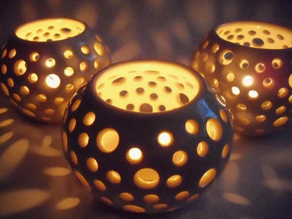 Stoneware  Luminary, Candle Holder, Votive, White,  Handmade Pottery