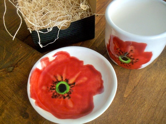 Cup, Saucer, Poppy, Two Piece Set, White, Red, Handmade Ceramic Pottery
