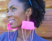 Neon Pink Knit and Chain Earrings ( Cotton Candy Collection SP2012)