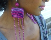 Multi-Purple Knit Asymmetrical Earrings ( Cotton Candy Collection SP2012)