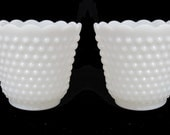 Set of 2 Vintage Hobnail Milk Glass Planters Vases for Wedding Decor Candy Buffet or Centerpiece