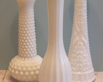 Vintage Milk Glass Vases - The Aubrey Collection - Set of 3 Milk Glass Vases, Instant Collection - Wedding Decor