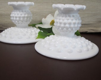 Vintage Hobnail Milk Glass Candlestick Holders, A Set of 2 by Fenton - Wedding Decor - Home Decor