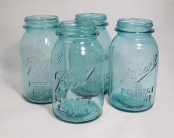 Set of 4 Vintage Aqua Perfect Mason Ball Jars - Blue Mason Jar - Wedding Decor