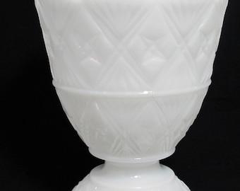 Vintage E.O. Brody Diamond Pattern Milk Glass Compote - Wedding Decor Centerpiece
