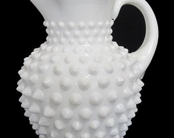 Vintage Fenton Hobnail Milk Glass Pitcher