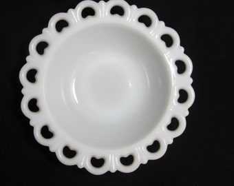 Vintage Scalloped Lace Edge Milk Glass Bowl