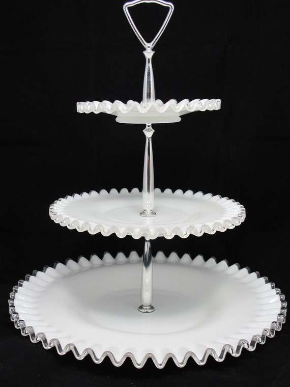 Vintage Milk Glass Fenton 3 Tier Silver Crest Tidbit Tray For