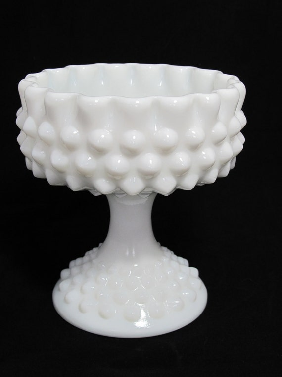 Vintage Milk Glass Hobnail Compote/Candy Dish