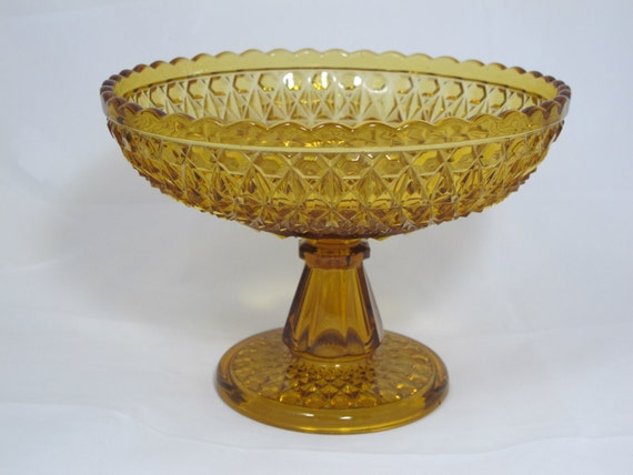 Vintage Amber Depression Glass Press Cut Compote