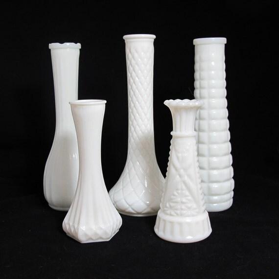 vintage milk glass vases the madeline collection set of 5. Black Bedroom Furniture Sets. Home Design Ideas