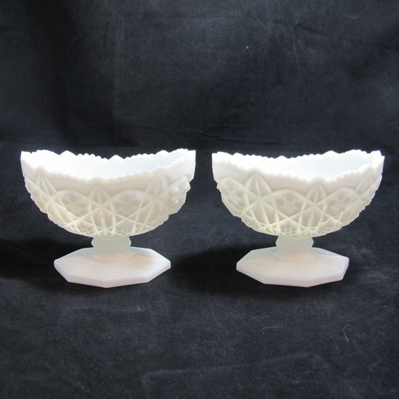 Set of Two Vintage Press Cut Milk Glass Candlestick Holders