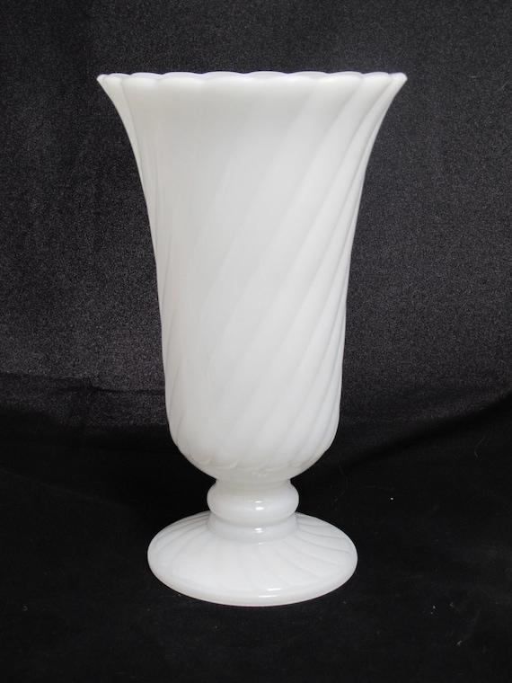Glass Pedestal Centerpiece : Vintage spiral pattern milk glass pedestal vase wedding decor