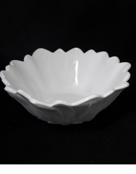 Vintage Milk Glass Bowl Small Wild Rose Pattern, Footed for Wedding Decor Candy Buffet or Home Decor